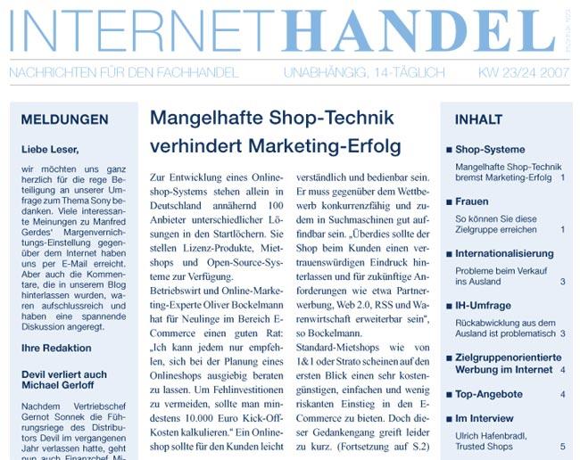 Interview der Zeitschrift Internethandel